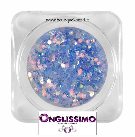 Poudre scintillante 3d lilas pour déco des ongles