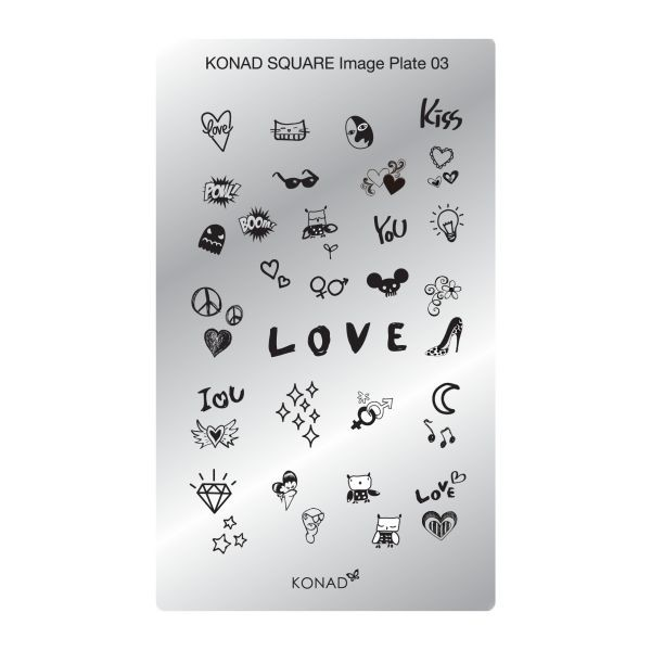 Plaque stamping Konad  SQ3 Love
