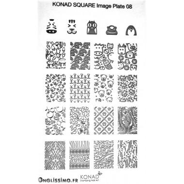 Plaque Konad rectangulaire 8 animaux
