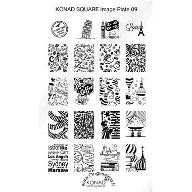 Plaque Konad Stamping Nail Art voyage 9