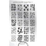 Plaque Konad Stamping Nail Art SQ11 fleurs