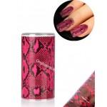 Foil nail art effet serpent noir et rose