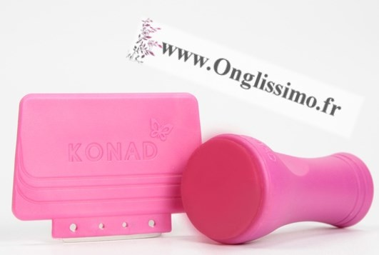 Tampon Stamping konad rose silicone 100% et raclette