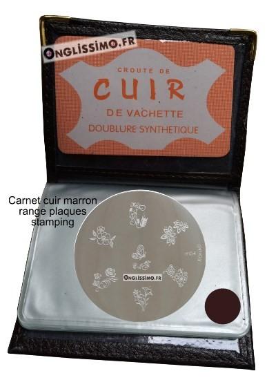 Carnet range plaques onglissimo en cuir marron