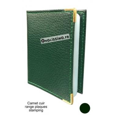 Carnet range plaques en cuir vert