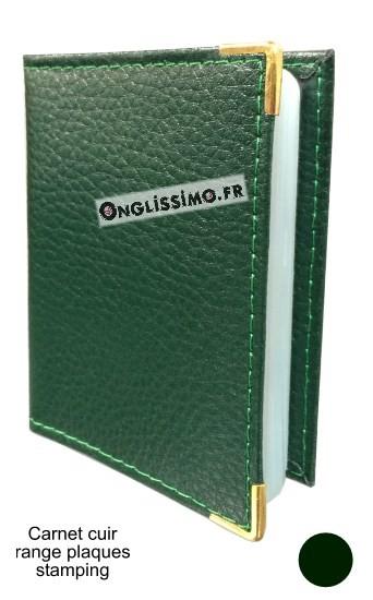 Carnet range plaques stamping en cuir vert