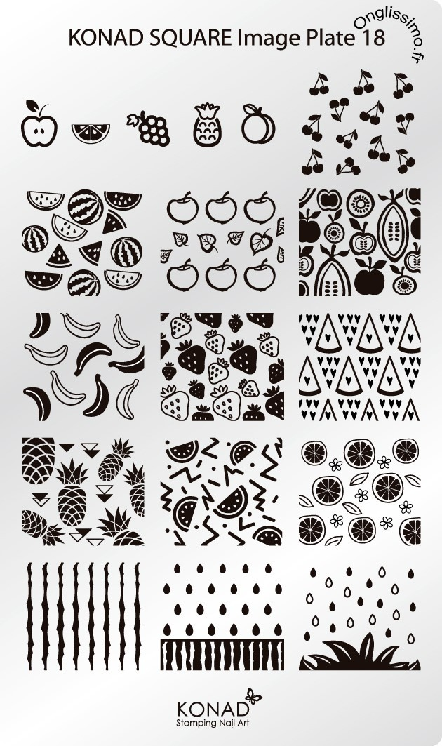 Plaque Konad Stamping Nail Art SQ18 Fruits