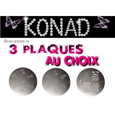 Lot de 3 plaques Konad stamping au choix