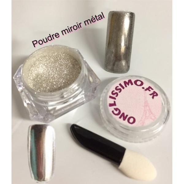 Poudre effet miroir argent pour ongles boutique konad by for Vernis miroir argent