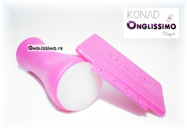Tampon stamping Konad 100% silicone blanc et raclette