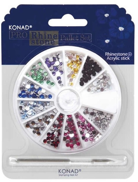 Strass Konad ronds taille 3mm 12 couleurs + stick