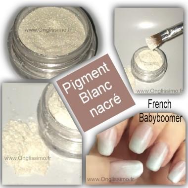 Poudre pigment blanc nacré pour décor nail art