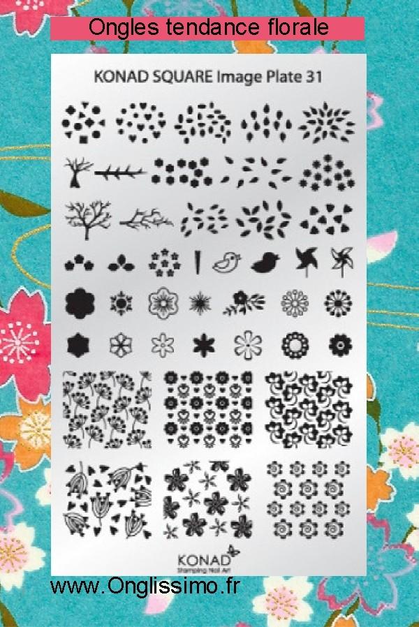 Stamping Plaque Konad SQ31 florale
