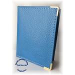 Carnet range plaques-cartes en cuir bleu ciel