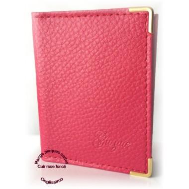 Carnet range plaques-cartes en cuir rose fonce