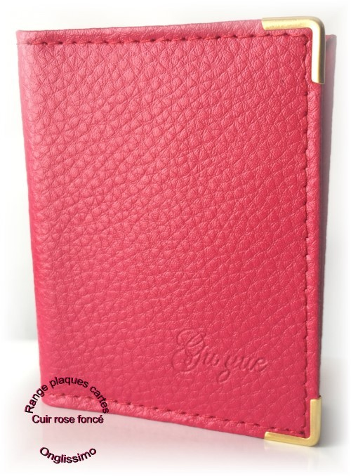 Carnet range plaques-cartes en cuir rose foncé