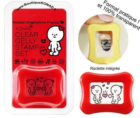 Stamping KONAD Tampon Clear Gelly et raclette red