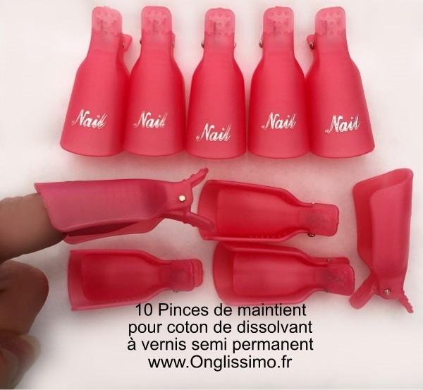 Pinces x10 pour dépose de vernis permanent et gel
