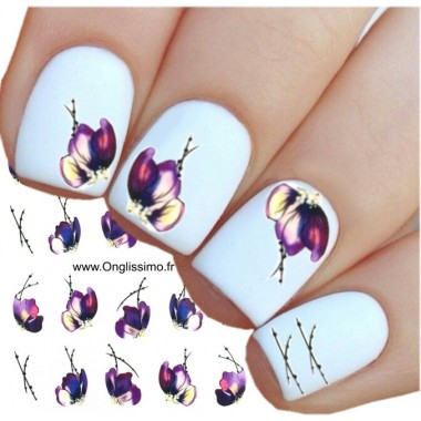 Water Decal pour ongles nail art fleur
