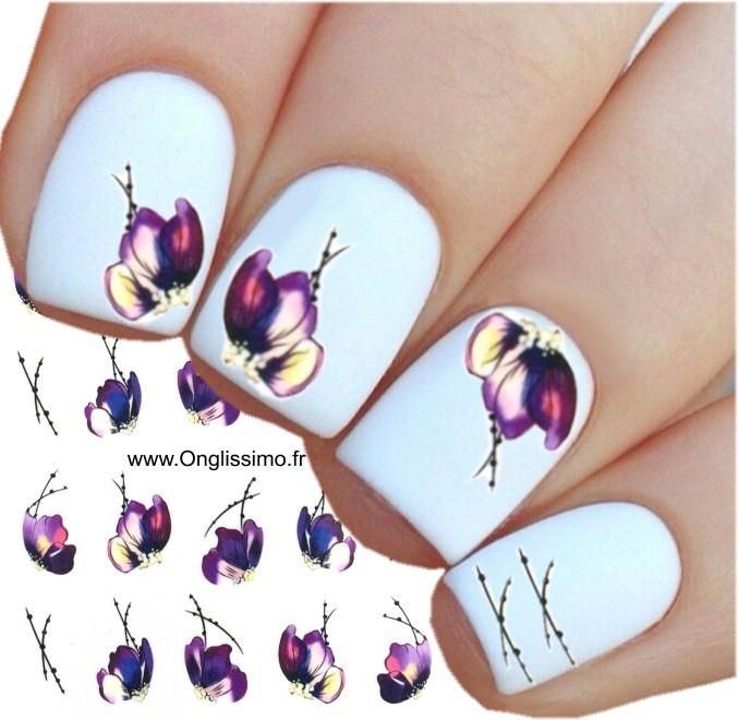 Water Decal pour ongles nail art fleur pensée