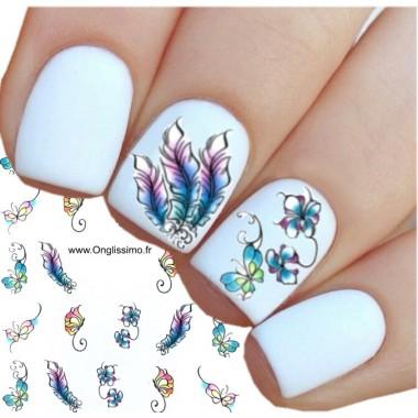 Water Decal pour ongles nail art papillon fleur