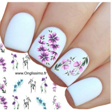 Water Decal pour ongles nail art fleur mauve bleu