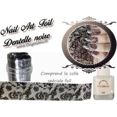 Foil Dentelle noire nail art avec colle