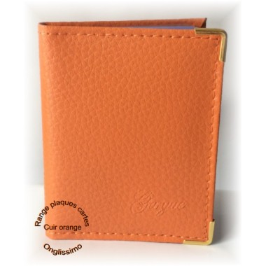 Carnet plaques stamping en cuir orange Onglissimo