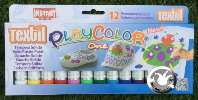Peinture textile Playcolor 12 couleurs One