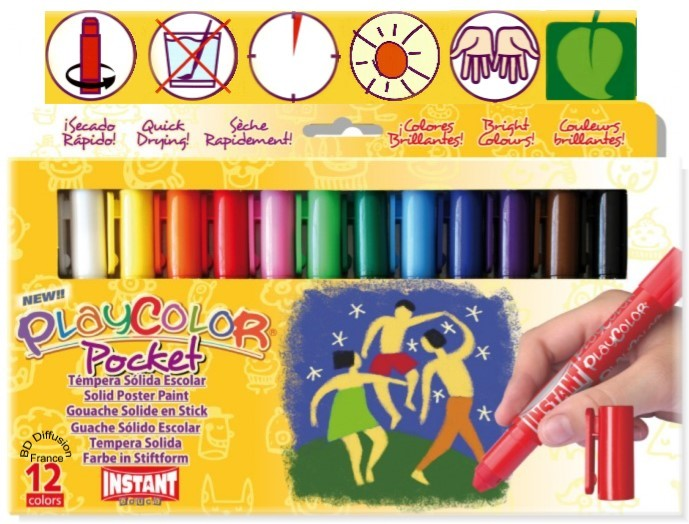 Peinture Playcolor 12 couleurs Basic pocket