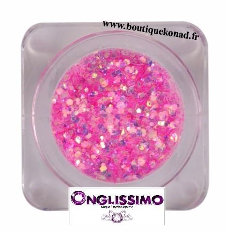 Poudre flakies scintillante 3 D rose bonbon