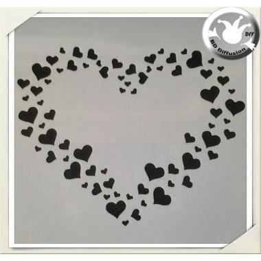 Pochoir pour peinture thème coeur