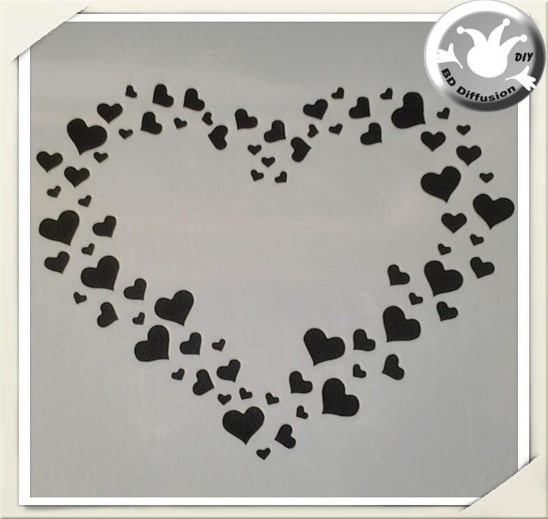 Pochoir coeur lavable pour peinture