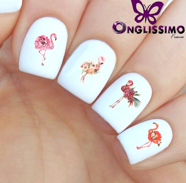Water decal nail art x20 flamants roses
