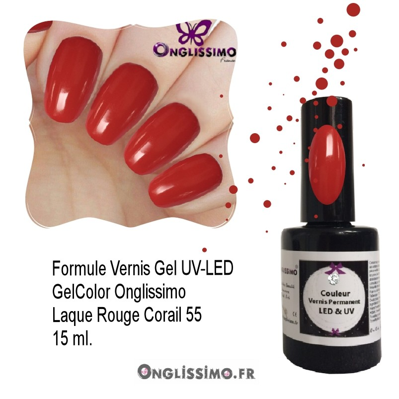 Vernis semi Permanent GelColor ref55 Rouge corail