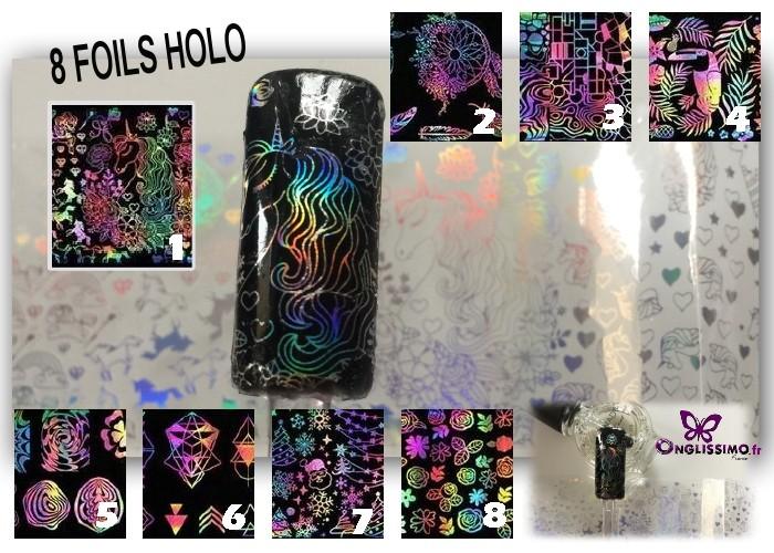 Foil Holo 8 thèmes nailart