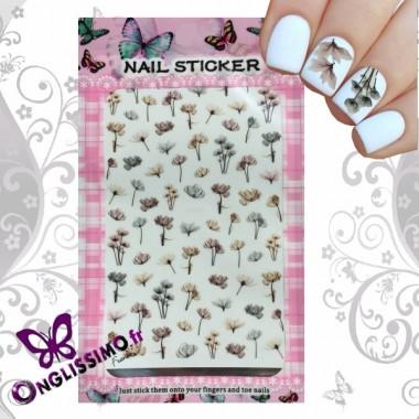 Sticker nail art autocollants fleurs des champs