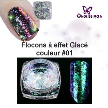 Flocon effet glacé holo pour ongle 3D color 01 vert