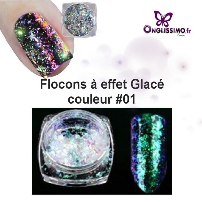 Flocons ongles effet givré holo couleur 1 vert