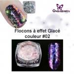 Flocon ongles effet givré holo couleur 2 violet