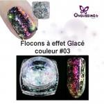 Flocon ongles effet givré holo couleur 3 rose