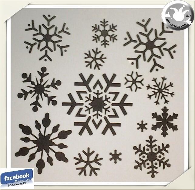 Pochoir flocons de neige, format A5 lavable