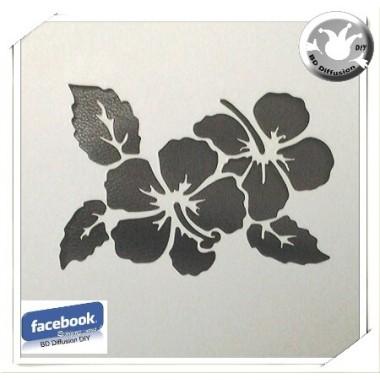 Pochoir Ibiscus lavable pour peinture