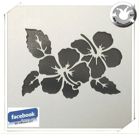 Pochoir Ibiscus, lavable pour peinture