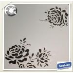 Pochoir fleurs pivoines lavable pour peinture