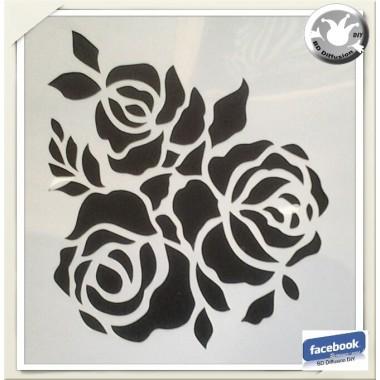 Pochoir Roses lavable pour peinture