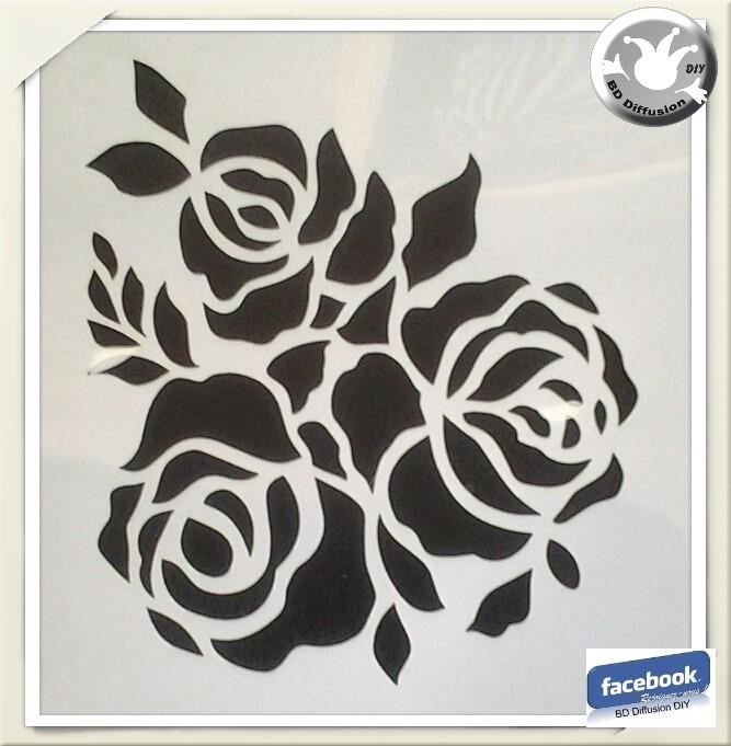 Pochoir Roses pour peinture, lavable format A5
