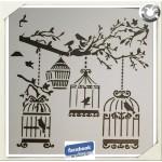 Pochoir Cages aux oiseaux pour peinture