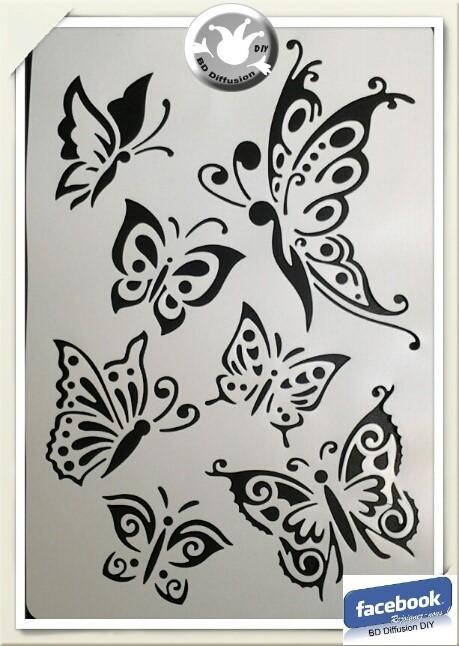 Pochoir Papillons format A4 lavable