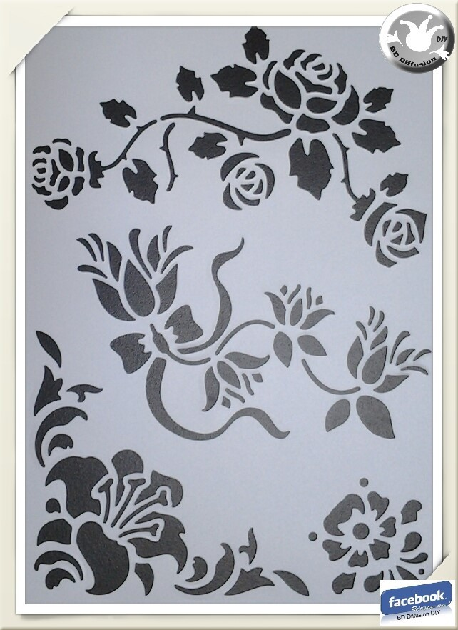 Pochoir Fleurs mélangées format A4 lavable